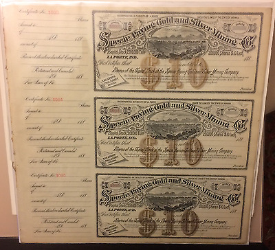Specie Paying Gold & Silver Mining Co LaPorte Indiana Pinal County Arizona 188x