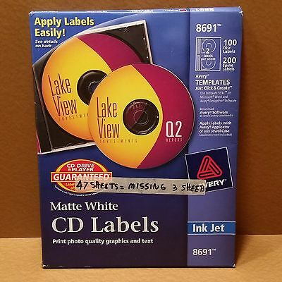 PARTIAL: Avery CD Labels - 94 Disc labels + 188 Spine labels 8691 NEW PARTIAL