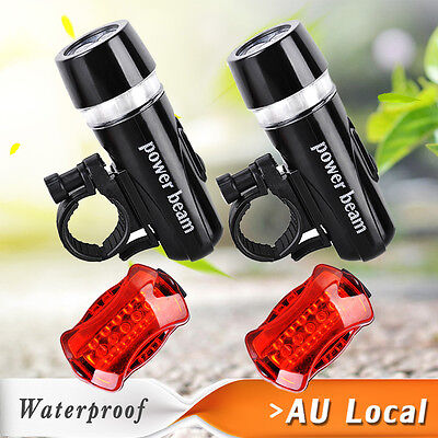 2x Bike Light Head + Rear Safety Alarm Set Bicycle Cycle White Beam 5 LED Lamp