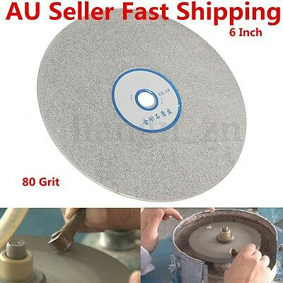 6'' 80 Grit Diamond Coated Disc Flat Lapidary Polishing Wheel Grinding Pad Tools