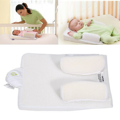 SOZZY Baby Infant Sleep Positioner Anti Roll Pillow Crib Wedge Prevent Flat Head