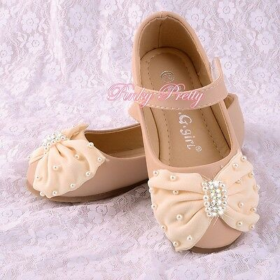 Pearls Bow Mary Janes Shoes Ivory Size UK 8-1 EU 25-32 Flower Girl Party GS016