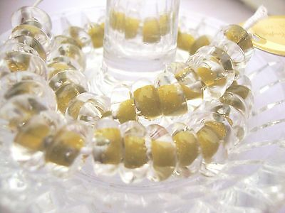 50 Vintage Lampwork beads Donuts-by Unicorn in USA over 10 yrs old--Olive/Clear
