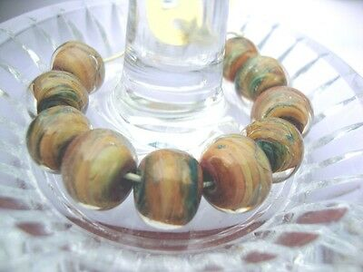 10 Vintage Lampwork beads Marble Round-by Unicorn in USA over 10 yrs old-#21333