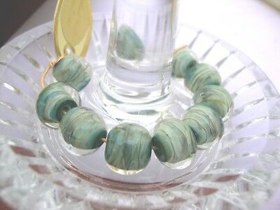 10 Vintage Lampwork beads Marble Round-by Unicorn in USA over 10 yrs old-#21325