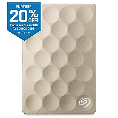 "Seagate Backup Plus Ultra Slim 2TB 2.5"" Portable External Hard Drive HDD Gold"