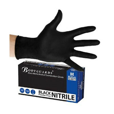 Bodyguard GL8972 Nitrile Work Gloves 100 Pieces Medium Black Powder Free