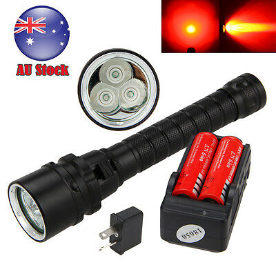 492nm 3X XPE Red LED Underwater 100m Scuba Diving Flashlight Torch+2X 18650+CH