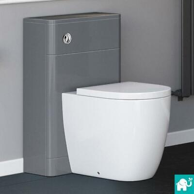 Back to Wall Toilet Compact Modern Design Cistern Housing Unit Soft Close Grey