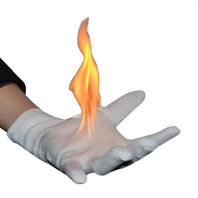2x White Magicians Flaming Gloves Fire in Hands Stage Magic Trick Props + Bottle