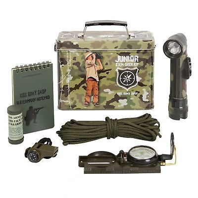 KAS Kids Army Junior Explorer Kit - Face Paint Notepad Compass Tin Role Play