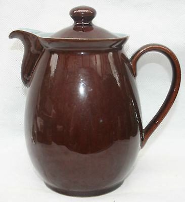 Large Denby Stoneware Homestead Brown Hot Water Jug Blue Lining 2.5 pint