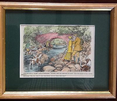 Pair Of Framed Hand Coloured Otterhunting  Cartoon Prints By G. Armour