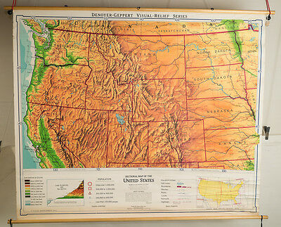 "Northwestern U.S. map from 1963 big 64"" x 54"" -great graphics"