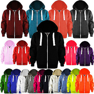 New Ladies Plain Hooded Hoodie ZIP Fleece Jumper Sweatshirt Coat Jacket TOP 8-28