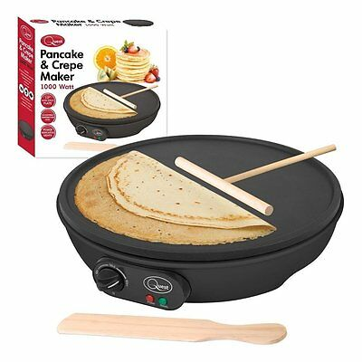 "1000W 12"" Electric Pancake & Crepe Maker Non Stick Plate With Free Accessories"