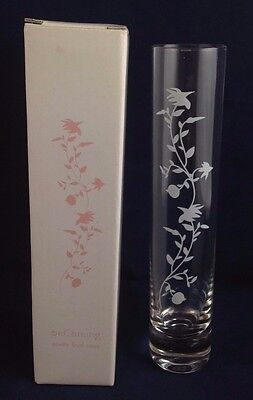 Avon Bud Vase Crystal Glass, 6 inch, etched with vine of flowers