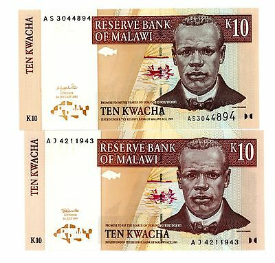 Malawi ... P-37a,43a ... 10 Kwacha ... 1997/2003 ...CH*UNC*  Pair Different note