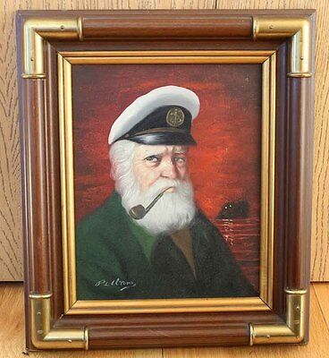 Original Oil Painting on Canvas - Old Skipper Portrait, Pipe, Signed by Pelbam