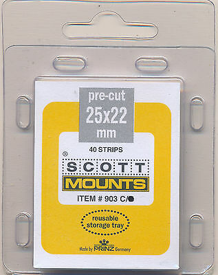 Prinz Scott Stamp Mounts Size 25/22 CLEAR Background Pack of 40