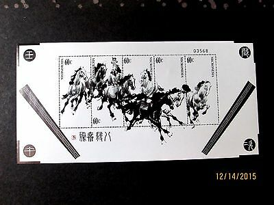 Micronesia 2002 Horses Painting Complete(Sheet Of 5)Very Fine Mint Never Hinged