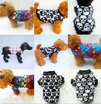 Summer Small Pet Clothes Skull Dog T-shirt Vest Cat Puppy Chihuahua Clothing