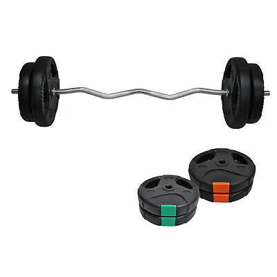 30Kg - 120Cm Curl Barbell Bar Weight Set - 7.5Kg X 2 & 5Kg X 2 Weight Plate