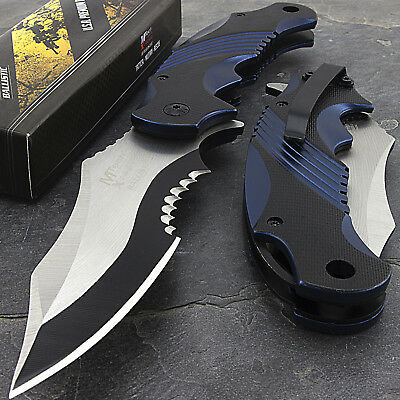 "8.25"" MTECH USA BLUE TWO TONE SPRING ASSISTED FOLDING TACTICAL POCKET KNIFE Open"
