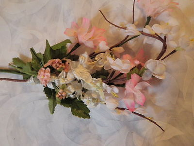 """Vintage Millinery Flower Collection 3/4""""-2 1/4"""" Pink White For Hat Hair H1316"""