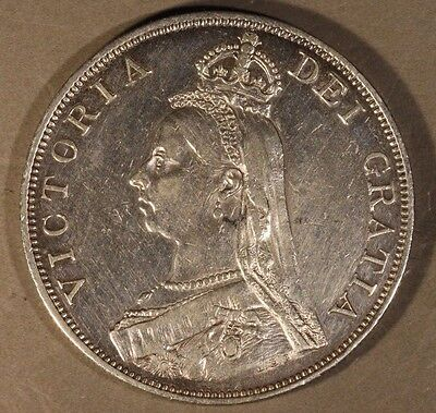 1889 Great Britain Double Florin High Grade Cleaned      ** FREE U.S SHIPPING **