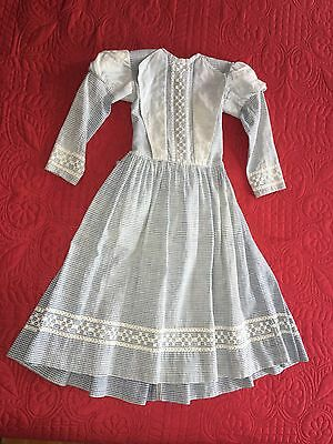 Sweet Antique C1900 Handmade Blue White Checked Dress Hand Embroidered
