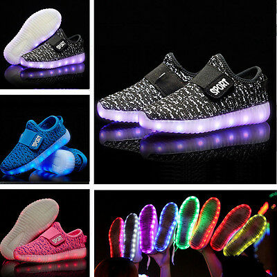 Child Kids Boys Girls LED Light Up Sneakers USB Charger Shoes Trainers Luminous