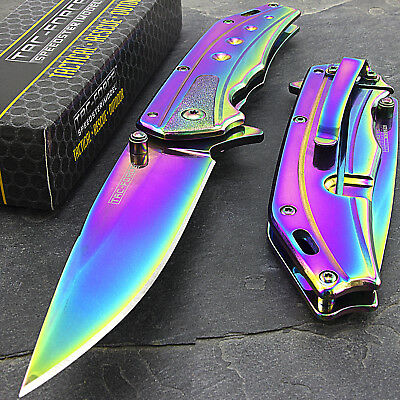 "8"" TAC FORCE RAINBOW TITANIUM SPRING ASSISTED TACTICAL FOLDING POCKET KNIFE Open"