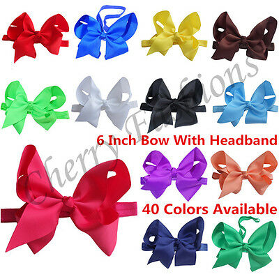 "6"" Large Bow Hair Headband inch knot Baby Girls Ribbon Bows Kids Accessories"