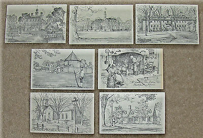 Charles H Overly Sketches (Signed) Colonial WILLIAMSBURG, VA Postcards, Lot of 7