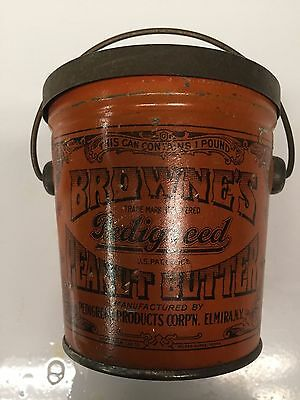 Vintage BROWN'S Peanut Butter 16 oz. Pail with Lid and Bail