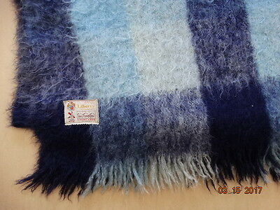 Vintage LIBERTY OF LONDON SCOTTISH MOHAIR THROW BLANKET BLUE PLAID WORN AS IS