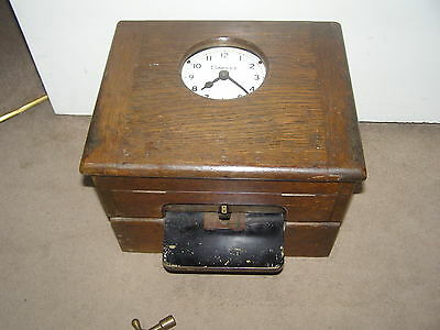 Vintage Clocking In Clock Oak Cased Simplex