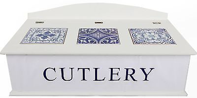 White Wooden Geometric Tile Design Cutlery Storage Box Compartmented Tray
