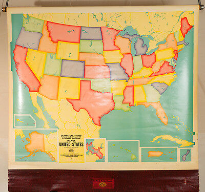 "US Pulldown Map- Cram's Markable and Kleenable- Home school - 50"" x 50"""