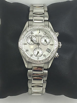 Women's Bulova 96R134 Stainless Diamond Accented Chronograph Silver Dial Watch