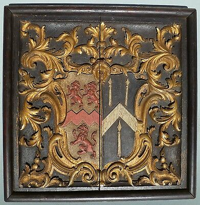 1620 Antique Carved Oak Polychrome Coat of Arms Crest Armorial 17 Century