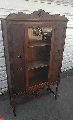 Antique wood Glass china Curio cabinet  Chinaware Display show case Finial Rare