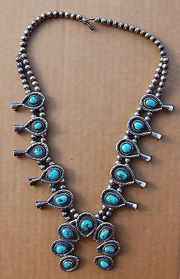 Vintage Navajo Sterling Silver Turquoise Squash Blossom Necklace old pawn 200 g