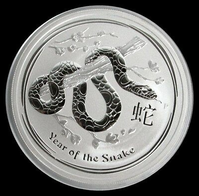 2013 P Silver Australia $ 2 Lunar Year Of The Snake 2 Oz Mint State Coin