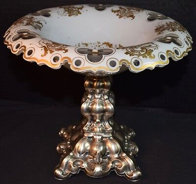 Antique Bohemian Overlay Glass and Silver (Plate?) Candy Dish