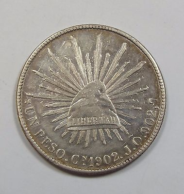 1902-Cn JQ MEXICO Silver 1-Peso Coin ALMOST UNCIRCULATED