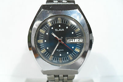 "Vintage Ussr  Russia Men's Hand Wind Up Watch ""slava"" (Glory)Beautiful Blue Dial"
