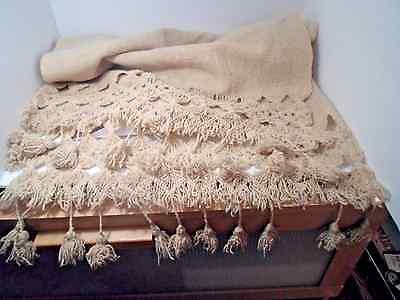 """Antique Hand Made Hand woven 80"""" L. SCARF beauiful long Macrame Fringe"""