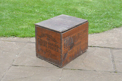original vintage old ROYAL BAKING POWDER  wooden box container - FREE POSTAGE